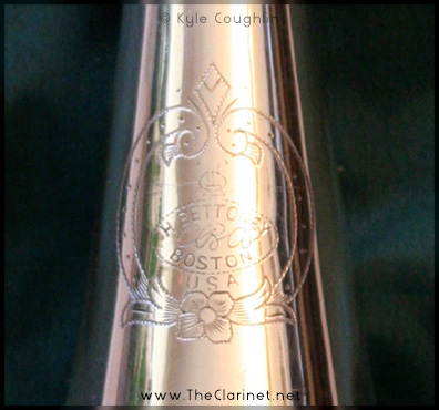A closeup of the engraving on the Silva-Bet clarinet.