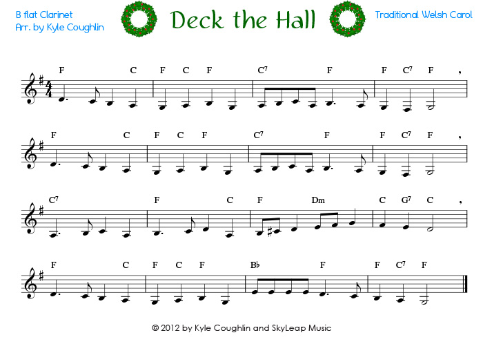 Deck the Halls for the clarinet - free, printable PDF sheet music