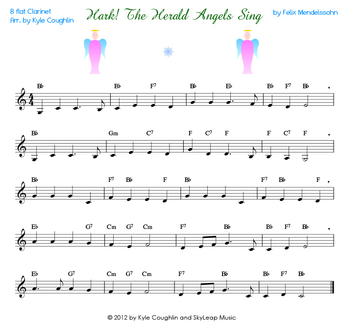 Herald angels sing for the clarinet free printable pdf sheet music