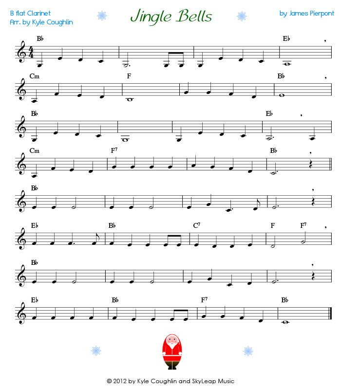 Jingle Bells For The Clarinet Free Printable Pdf Sheet Music
