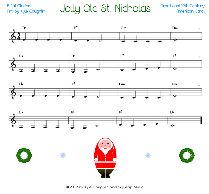 Jolly Old St Nicholas For The Clarinet Free Printable Pdf Sheet