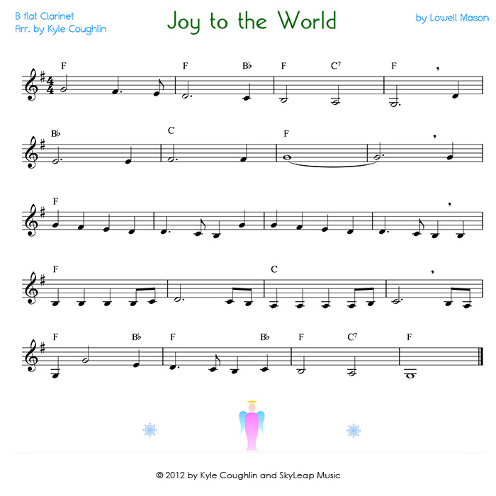 Joy to the World for the clarinet - free, printable PDF sheet music