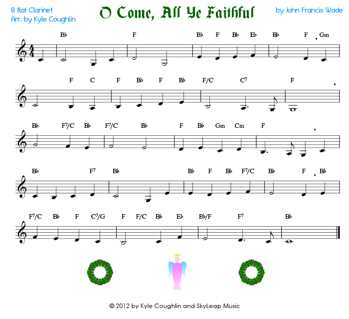 O Come, All Ye Faithful for the clarinet - free, printable PDF ...