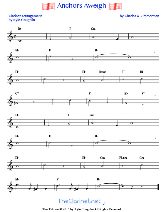 graphic about Free Printable Clarinet Sheet Music titled Anchors Aweigh for clarinet - totally free, printable PDF sheet new music