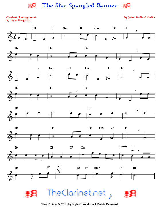 The Star Spangled Banner for clarinet - free, printable PDF sheet music