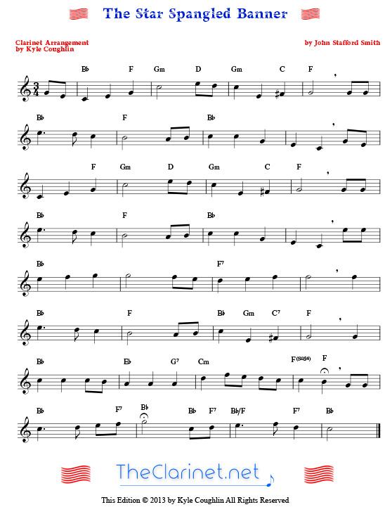Star Spangled Banner For Clarinet 65