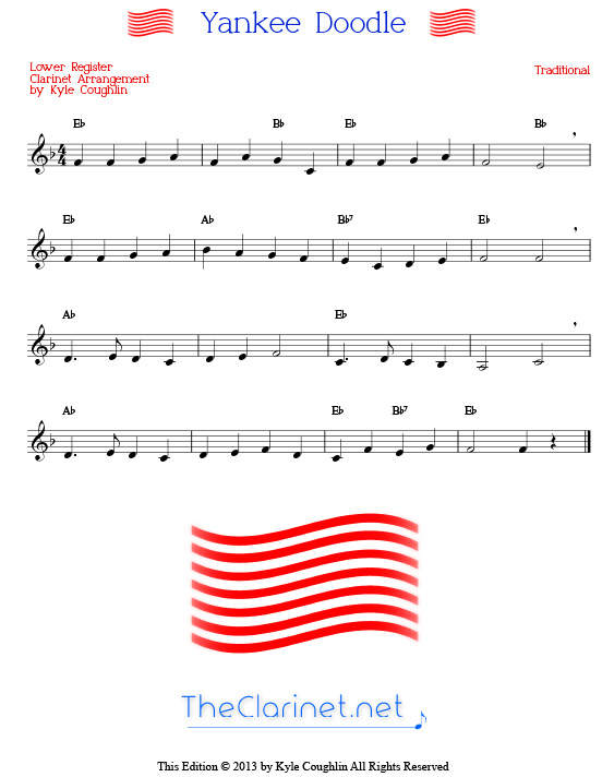 Yankee Doodle for clarinet - free, printable PDF sheet music