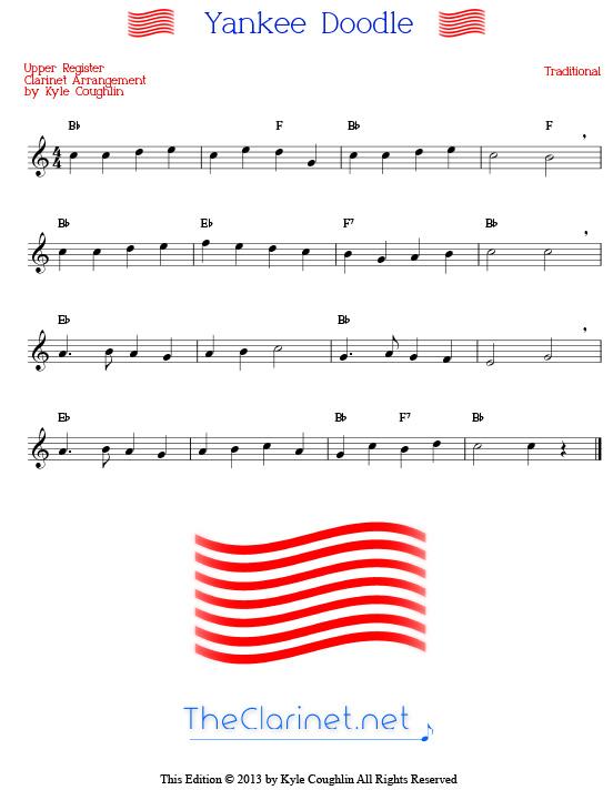 Yankee Doodle For Clarinet Free Printable Pdf Sheet Music