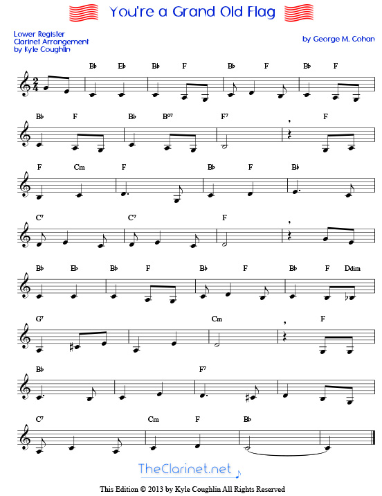 picture about Free Printable Clarinet Sheet Music titled Youre a Grand Aged Flag for clarinet - cost-free, printable PDF
