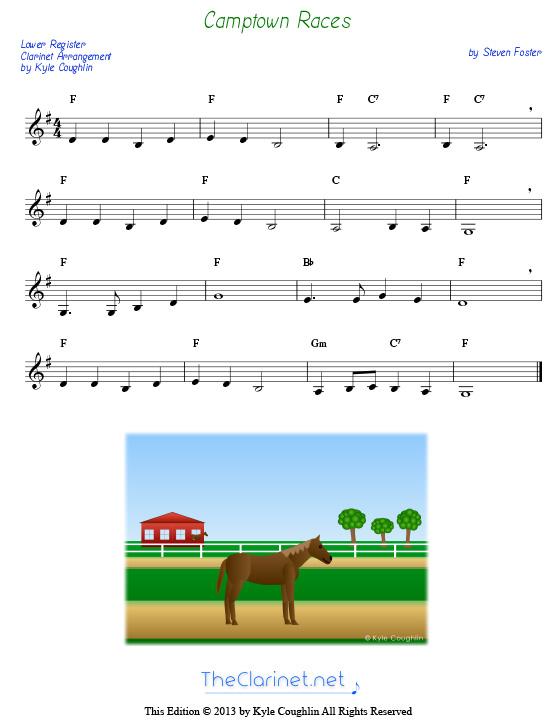 Camptown Races For Clarinet Free Sheet Music Printable Pdf