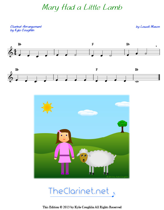 Mary Had A Little Lamb For Clarinet Free Sheet Music Printable Pdf