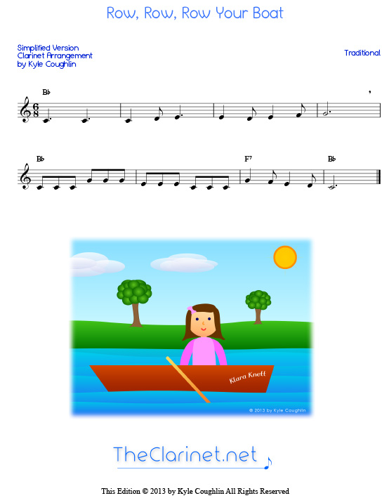 Row, Row, Row Your Boat for clarinet - free sheet music, printable PDF