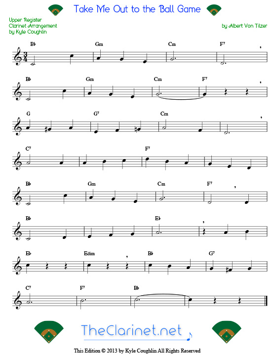 Take Me Out To The Ball Game For Clarinet Free Sheet Music Printable Pdf