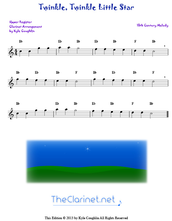 Twinkle twinkle little star for clarinet free sheet music printable