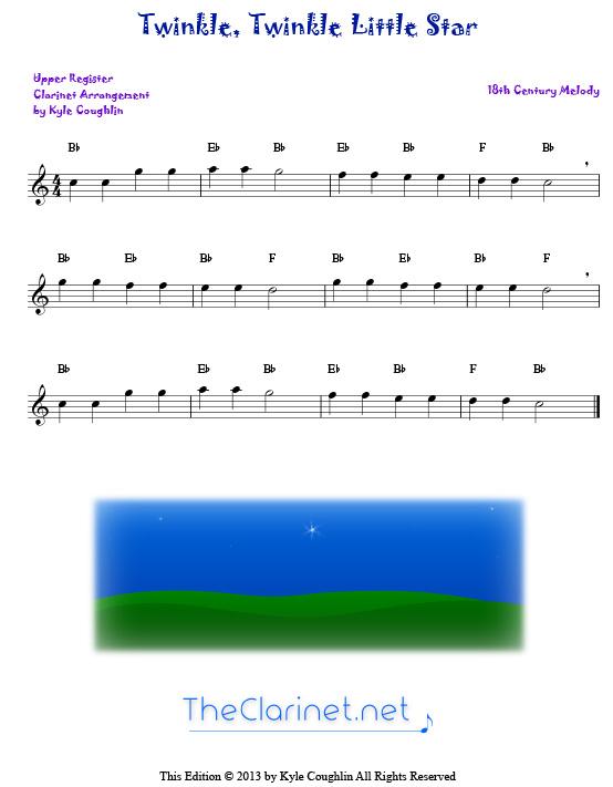 Twinkle Twinkle Little Star For Clarinet Free Sheet